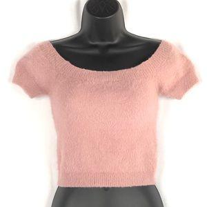 Kendall & Kylie Pink Fuzzy Stretch Crop Top Medium